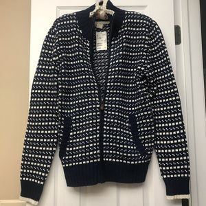 """NEW"" H&M BLUE & WHITE ZIPPERED SWEATER SIZE 14"